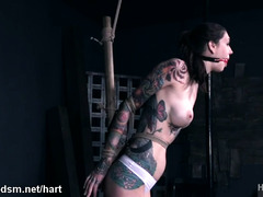 Opressive bondage treatment for young babe with large boobs