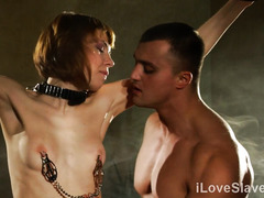 Submissive redhead roughly fucked in kinky fetish play