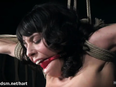 Harsh fantasy bondage with a kinny brunette in love with playing obedient