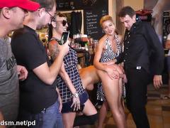 Public sex in a pub with avid for cock women