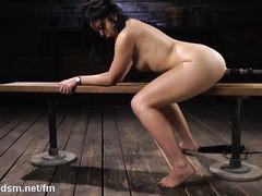 Asian brunette shows mind blowing fuck machine solo