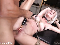 Sexy blonde, nude and obedient while being harsh fucked