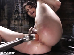 Skinny punk slut works the fucking machine in insane XXX solo