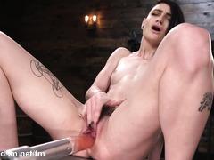 Skinny punk slut works the fucking machine in insane XXX solo