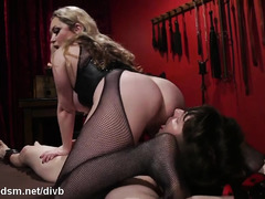 Busty blonde mistress ass fucks slave in brutal modes