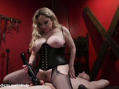 Busty blonde mistress ass fucks slave in brutal modes