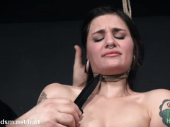 Severe pussy stimulation during sadistic rope bondage session