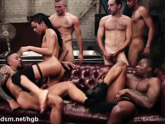 Black diva spins huge dicks in each of her holes for a rough gangbang