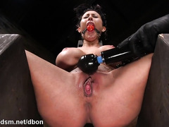 Gorgeous woman spanked and throated in insane BDSM sex play