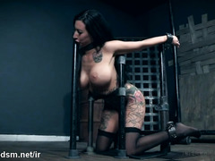 Stunning brunette porn doll in severe BDSM tryout