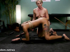 Lesbo whores in savage female domination porn scenes