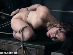 Naked brunette endures a lot of pain in harsh bondage XXX play