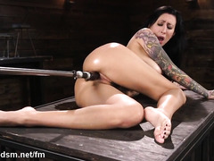 Gorgeous brunette uses fuck machine for her dirty sexual pleasures