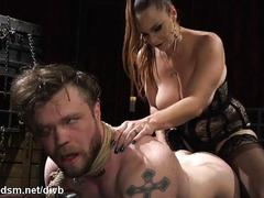 Dominant mature cock blocks enslaved guy before anal fucking him