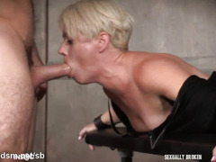 Blonde mature severe hard sex with two males