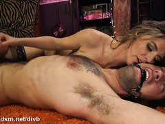 Dominant bitch butt fucked slave then forces him to fuck her