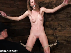 Naked blonde babe brutally spanked and fucked in BDSM play