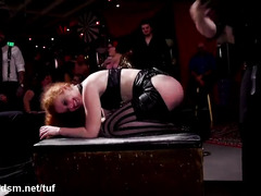 Colorful BDSM orgy leads redhead to fuck a lot