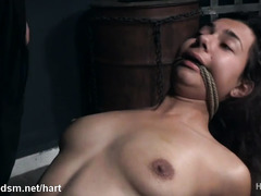Tied up sweetie endures a lot of pussy treatments in rough modes