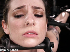 Severe pussy stimulation for clamped bitch in love with BDSM