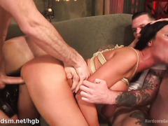Submissive milf in brutal gangbang sex play on cam