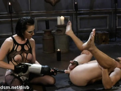 Dominant bitch fucks male slave in the ass before riding him hard