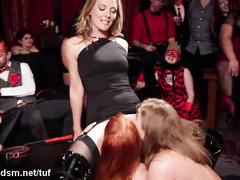 Drunk bitches in crazy scenes of orgy porn
