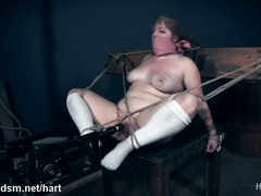 Busty Isabel restrained and fucked in her fat pussy