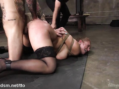 Busty blonde plays obedient with two men in rough XXX scenes