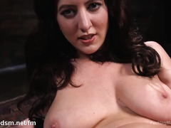 Big ass brunette works her hairy pussy with a fuck machine