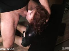 Busty redhead completely tied up and dominated by horny couple