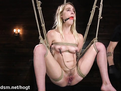 Rough bondage and rope slaving for a blonde whore