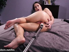 Busty young babe tries the fuck machine in harsh modes