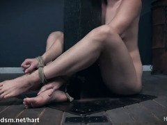 Obedient blonde gagged and fucked with toys while restraint