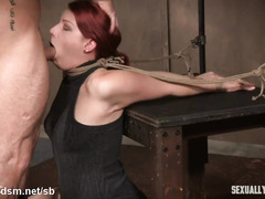 Obedient redhead forced fucked and made to choke with cock