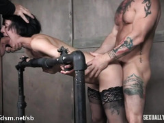 Brutal scenes of maledom hardcore for a naked brunette