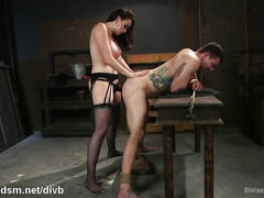 Dominant milf butt fucks enslaved man and tapes him