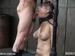 Obedient blonde sexually broken by couple in love