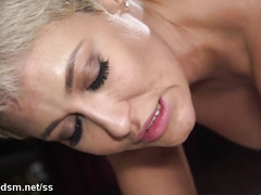 Obedient milf swallows a lot of dick before being fucked hard