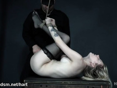 Naked blonde spanked and roughly dominated in bondage scenes
