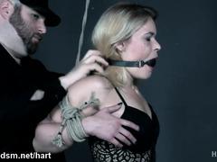 Busty blonde roughly dominated in bondage extreme