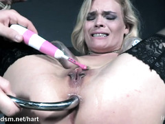 Busty blonde roughly dominated in bondage extreme