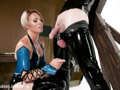 Dominant milf in latex costume, extreme anal with her slave