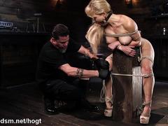 Top milf endures pain and pleasure in brutal bondage slabe play