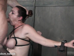 Green eyed slut gets head fucked in brutal manners