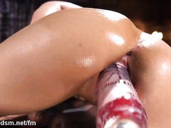 Naughty young babe uses her new toy to damage her pussy
