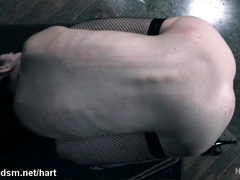 Restrained girl fucked in the pussy and ass, the rough way