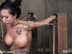 Enslaved milf gets choked, gagged and made to suck cock in severe modes