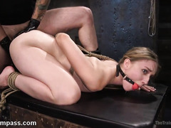 Amateur blonde trained to become a better sex slave