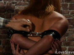 Busty wife plays submissive in very rough threesome tryout